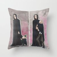 snape Throw Pillows featuring Uncle Snape by CaptBexx
