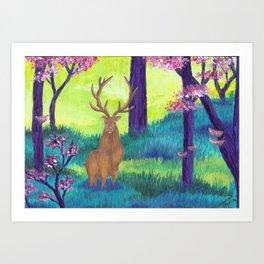 Goden Deer Art Print