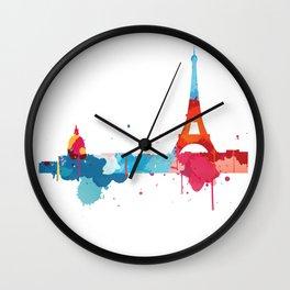 Paris Cityscape Watercolor Wall Clock