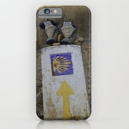 Camino Route Marker and Old Boots iPhone Case