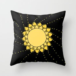 Celestial Swirling Sun Boho Mandala Hand-drawn Illustration on Black Throw Pillow