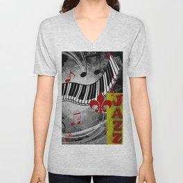 JAZZ PIANO KEYBOARD MUSIC Unisex V-Neck