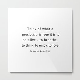 Think of what a precious privilege it is to be alive Metal Print