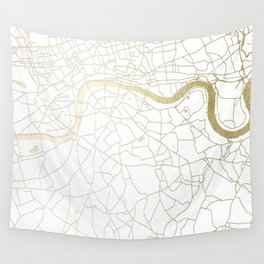 White on Yellow Gold London Street Map Wall Tapestry