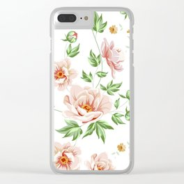 Pink Rose Floral Clear iPhone Case