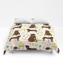 Chocolate Lab labrador retriever dog breed pet art easter pattern costume spring Comforters