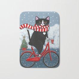 Winter Tuxedo Cat Bicycle Ride Bath Mat