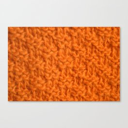 Double seed stitch knitting in bright orange Canvas Print