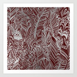 Elegant silver foil burgundy bohemian aztec feathers Art Print
