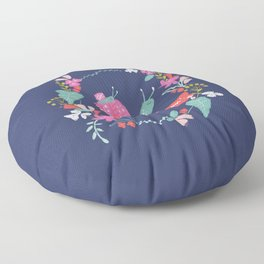 Mommy I LOVE YOU! Mum and baby snail with flowers, nvy Floor Pillow
