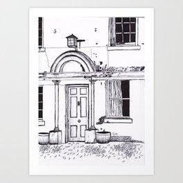 Old Building Fineliner Sketch Art Print