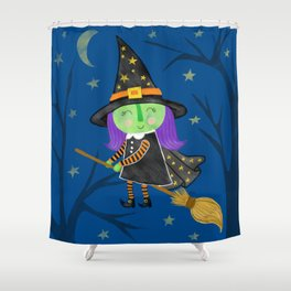 Cute Halloween Witch Shower Curtain