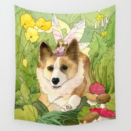 The Faerie and the Welsh Corgi Wall Tapestry
