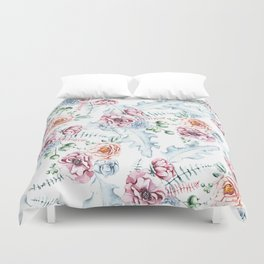 Hand painted pink blue watercolor modern floral Duvet Cover