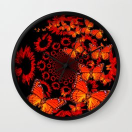 Awesome Decorative Monarch Butterflies on Black Wall Clock