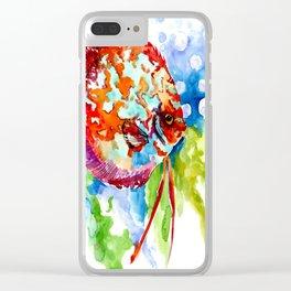 Bright Colored Aquarium Fish, Aquatic Beach Design Discus Clear iPhone Case