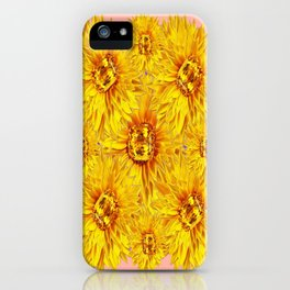 Golden Topaz Gems Sunflowers Pink & Coral Abstract iPhone Case