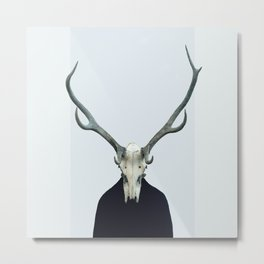 Living Skull and Horns Metal Print