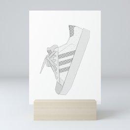 sneaker illustration, shoe drawing, 80s , black and white Mini Art Print