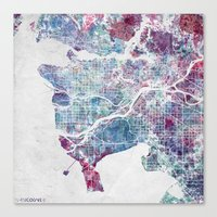 Canvas Prints featuring Vancouver map by MapMapMaps.Watercolors