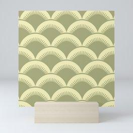 Japanese Fan Pattern Olive and Yellow Mini Art Print