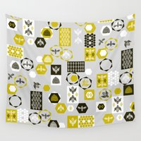 bees Wall Tapestries featuring Bees Block by Andrea Lauren Design