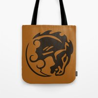 bioshock infinite Tote Bags featuring Bioshock Infinite Vigors - Bucking Bronco by GunnerGrump