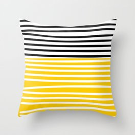 Cute yellow pattern with stripes Throw Pillow