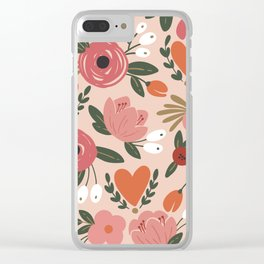 Seamless Pink Pastel Floral Pattern Salmon Red Orange Clear iPhone Case
