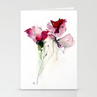 poppy Stationery Cards featuring poppy by beautifyprints
