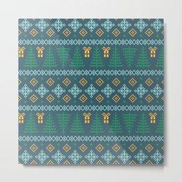Christmas Tree Sweater Pattern - Teal Metal Print