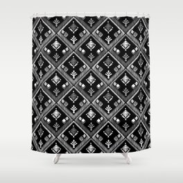 Abstract ethnic ornament. Black background 3. Shower Curtain