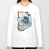 superhero Long Sleeve T-shirts featuring Superhero Biker by Pat Pot Designs