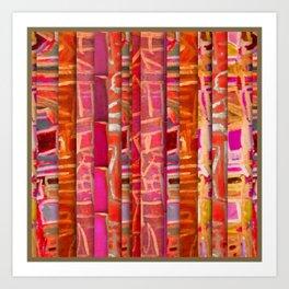 NUMBER 195 orange pink red pattern Art Print