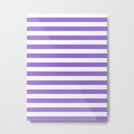 Narrow Horizontal Stripes - White and Dark Pastel Purple Metal Print