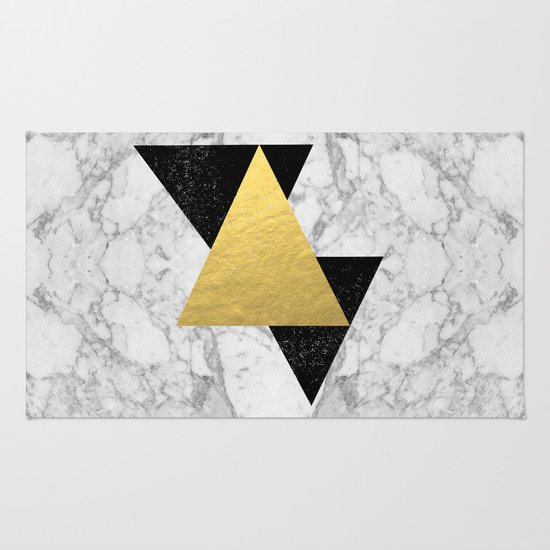 Marble Tri Black & Gold - gold foil, gold, marble, black and white, trendy, luxe, gold phone Rug