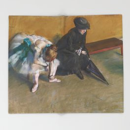 Waiting by Edgar Degas Throw Blanket