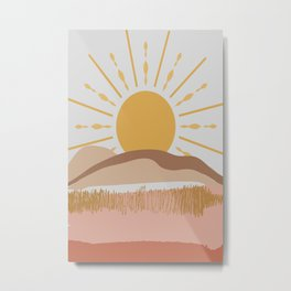 Bright Yellow Sun Metal Print