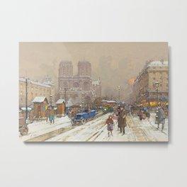 Notre Dame, Paris Winter City Scene by Eugene Galien Laloue Metal Print