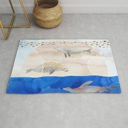 Seals, Sand, Ocean - Surrealist Dreams Rug