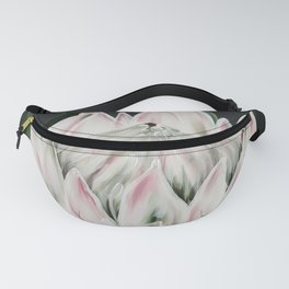 Protea Flower in Pastel Pink and Green Fanny Pack