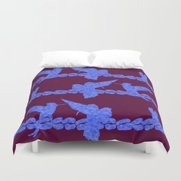 Purple Hummingbirds on Ultraviolet Line Duvet Cover