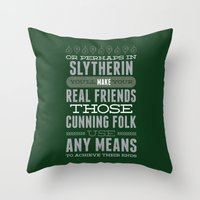 slytherin Throw Pillows featuring Slytherin by Dorothy Leigh