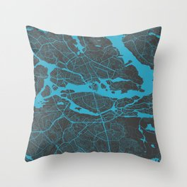 Stockholm Map blue Throw Pillow