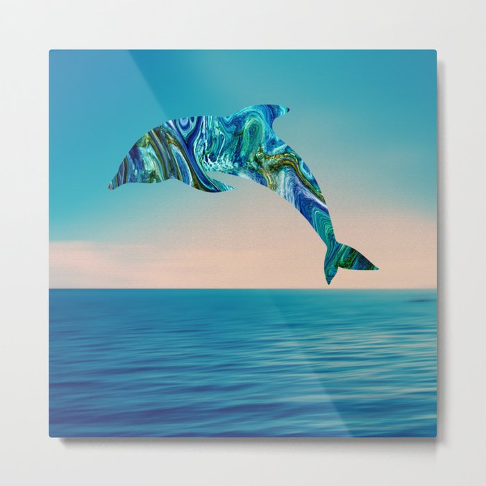 Marble Animals - Dolphin Metal Print