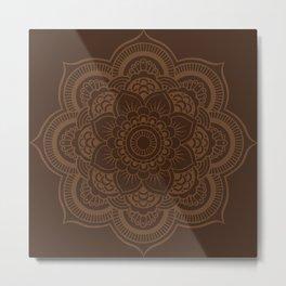 Brown Mandala Metal Print