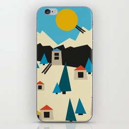 A Sunny Winter Day in the Mountain Village iPhone Skin