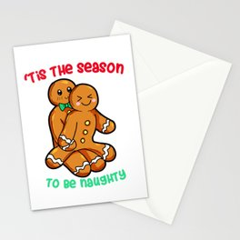 Naughty Gingerbread Couple Christmas Present funny Stationery Cards