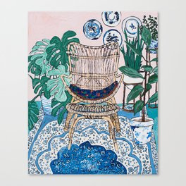 Wicker Chair and Delft Plates in Jungle Room Canvas Print