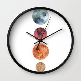 Watercolor planets: Mercury, Mars, Earth, Venus Wall Clock